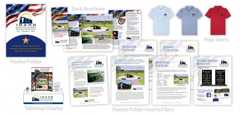 Idaho Gold Star Families Memorial Monument Pocket Folder, Brochure, Inserts, Tabletop Display and Polo Shirts