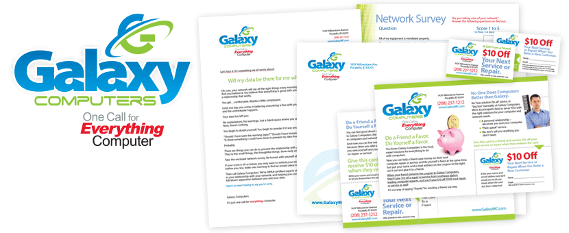 Galaxy Computers - Logo design and direct mail package.